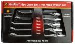 Набор ключей рожково-шарнирных 10-19мм, 6 пр. AmPro T40990